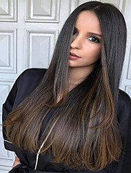 cheap -Synthetic Wig Straight Natural Straight Side Part Wig Ombre Long Dark Brown / Dark Auburn Synthetic Hair 24 inch Women's Synthetic Hot Sale Comfortable Brown Ombre / African American Wig / Doll Wig