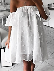 cheap -Women's Basic Swing Sundress - Solid Colored Ruffle Polka Dots Fashion Strapless Spring White Blushing Pink M L XL
