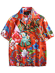 cheap -Aloha Hula Dancer Adults' Men's Casual Beach Style T-shirt Hawaiian Costumes Luau Costumes For Party Casual / Daily Festival Polyster Blouse