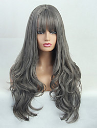 cheap -Costume Accessories Synthetic Wig Natural Wave Deep Wave Neat Bang Wig Long Grey Synthetic Hair 24 inch Women's Fashionable Design Synthetic Hot Sale Dark Gray BLONDE UNICORN / Natural Hairline