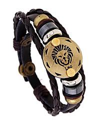 Недорогие -Муж. Кожаные браслеты Йога Дева Taurus Рыбы Панк Кожа Браслет Ювелирные изделия Коричневый Назначение Повседневные фестиваль