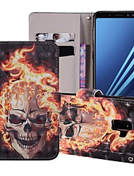 cheap -Case For Samsung Galaxy J6 (2018) Wallet / Card Holder / with Stand Full Body Cases Skull Hard PU Leather