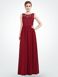 cheap -A-Line Jewel Neck Maxi Chiffon Bridesmaid Dress with Pattern / Print