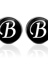 cheap -Cufflinks Alphabet Shape Formal Vintage Brooch Jewelry Black Silver Brown For Daily Work