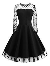 cheap -Women's Sophisticated Elegant Sheath Chiffon Dress - Geometric Lace Pleated Print U Neck Cotton Black S M L XL