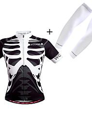 cheap -WOSAWE Men's Women's Short Sleeve Cycling Jersey White Black Skeleton Bike Jersey Breathable Sports Polyester Skeleton Mountain Bike MTB Road Bike Cycling Clothing Apparel / Micro-elastic
