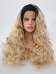 cheap -Synthetic Lace Front Wig Curly Side Part Lace Front Wig Blonde Long Black / Blonde Synthetic Hair 22-24 inch Women's Adjustable Heat Resistant Party Blonde
