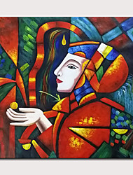 cheap -Oil Painting Hand Painted - People Abstract Portrait Modern Rolled Canvas