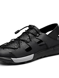 cheap -Men's Comfort Shoes Cowhide Spring & Summer Sporty / Casual Sandals Breathable Black