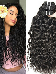 cheap -3 Bundles Peruvian Hair Water Wave Unprocessed Human Hair 100% Remy Hair Weave Bundles Headpiece Natural Color Hair Weaves / Hair Bulk Bundle Hair 8-28 inch Natural Color Human Hair Weaves Odor Free