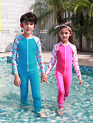 cheap -JIAAO Boys' Girls' Rash Guard Dive Skin Suit Diving Suit Quick Dry Full Body Front Zip - Swimming Diving Snorkeling Painting Patchwork Autumn / Fall Spring Summer / Winter / High Elasticity / Kid's