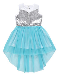 cheap -Kids Girls' Color Block Lace Sequins Lace up Sleeveless Knee-length Dress Blue