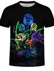 cheap -Men's Plus Size Cotton T-shirt - 3D / Graphic Print Round Neck Black