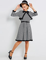abordables -Audrey Hepburn Fille de la campagne Rétro Vintage Années 50 Taille de guêpe Rockabilly Robe Manteau Femme Costume Noir blanc Vintage Cosplay Soirée Quotidien Manches Longues Mi-long