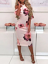 cheap -Women's Blushing Pink Blue Dress Basic Sheath Floral Halter Neck Print S M
