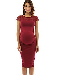 cheap -Women's Knee-length Maternity Wine Black Dress Basic Bodycon Sheath Solid Colored Lace S M