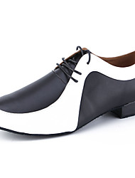 cheap -Men's Dance Shoes Cowhide Latin Shoes Heel Thick Heel Customizable Black / White / Performance / Leather / Practice