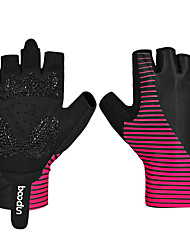 cheap -BOODUN Bike Gloves / Cycling Gloves Mountain Bike MTB Road Bike Cycling Breathable Anti-Slip Sweat-wicking Protective Fingerless Gloves Half Finger Sports Gloves Lycra Fuchsia for Adults' Outdoor