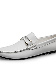 cheap -Men's Leather Shoes Nappa Leather Fall / Spring & Summer Business / Casual Loafers & Slip-Ons Non-slipping Black / White / Moccasin / Driving Shoes