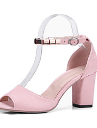 cheap -Women's Sandals Chunky Heel Open Toe Buckle Suede Sweet Summer Black / Pink / Gray / Party & Evening / Party & Evening