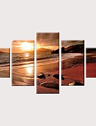 cheap -Print Rolled Canvas Prints Stretched Canvas Prints - Landscape Modern Vintage Modern Five Panels Art Prints