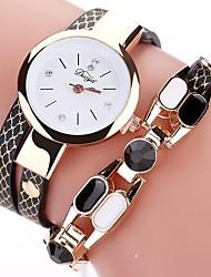 cheap -Women's Bracelet Watch Bohemian Fashion Black White Blue PU Leather Chinese Quartz Red Sky Blue Peach Casual Watch Imitation Diamond 1 pc Analog One Year Battery Life
