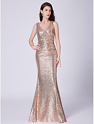 cheap -Mermaid / Trumpet V Neck Floor Length Sequined Bridesmaid Dress with Sequin