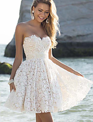 cheap -A-Line Sexy Cute Holiday Wedding Party Dress Strapless Sleeveless Short / Mini Lace with Lace Insert 2020