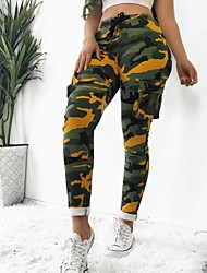 cheap -Women's Sporty Cargo Pants - Camouflage White Yellow Army Green M L XL