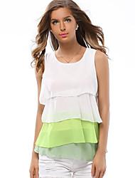 Недорогие -Жен. Контрастных цветов Блуза Желтый / Зеленый / Коричневый
