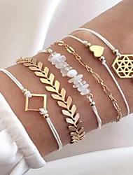 cheap -6pcs Women's Vintage Bracelet Earrings / Bracelet Layered Heart Simple Classic Vintage Fashion Hemp Rope Bracelet Jewelry Gold For Daily School Street Going out Festival