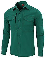 cheap -Esdy Men's Hiking Shirt / Button Down Shirts Long Sleeve Outdoor Warm Sweat-Wicking Multi Pocket Shirt Autumn / Fall Spring Terylene Green Blue Grey Climbing