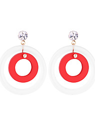 cheap -Women's Crystal Drop Earrings Earrings Solitaire Simple Korean Fashion Modern Wood Earrings Jewelry Red / Green / Pink For Daily Carnival Street Holiday Work 1 Pair