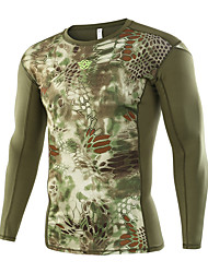 cheap -Esdy Men's Camo Hiking Tee shirt Long Sleeve Outdoor Breathable Quick Dry High Elasticity Tee / T-shirt Top Autumn / Fall Spring Cotton Blend Crew Neck Green Camping / Hiking Military / Tactical