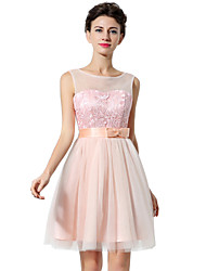 cheap -A-Line Jewel Neck Short / Mini Tulle Cute / Pastel Colors Cocktail Party / Homecoming Dress with Bow(s) / Lace Insert 2020