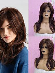 cheap -Human Hair Wig Long Curly Loose Curl Layered Haircut Asymmetrical Dark Brown Fashionable Design Adjustable Heat Resistant Capless Women's Brown 20 inch / Natural Hairline / Natural Hairline