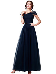 cheap -A-Line Boat Neck Floor Length Tulle Minimalist Prom / Formal Evening Dress with Sash / Ribbon / Ruched 2020