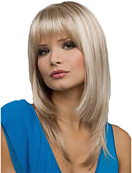 cheap -Synthetic Wig kinky Straight Free Part Wig Medium Length Brown / White Synthetic Hair 16 inch Women's Fashionable Design Smooth Women Light Brown