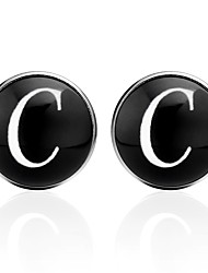 cheap -Cufflinks Alphabet Shape Formal Vintage Brooch Jewelry Black Silver Brown For Graduation Daily