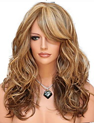 cheap -Synthetic Wig Curly With Bangs Wig Blonde Medium Length Light golden Light Brown Black / Red Synthetic Hair 60 inch Women's curling Blonde Brown