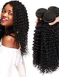 cheap -3 Bundles Brazilian Hair Kinky Curly Remy Human Hair Natural Color Hair Weaves / Hair Bulk Bundle Hair Human Hair Extensions 8-28 inch Natural Color Human Hair Weaves Best Quality New Arrival Hot Sale