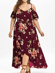 cheap -Women's Maxi Swing Dress Strap Black Blushing Pink Wine XXXL XXXXL XXXXXL