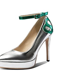 cheap -Women's Patent Leather Spring & Summer Vintage Heels Stiletto Heel Pointed Toe Buckle Silver / Green / Dark Red / Wedding / Party & Evening