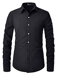 cheap -Men's Evening Party Festival Basic EU / US Size Cotton Shirt - Solid Colored Rivet Button Down Collar Black / Long Sleeve