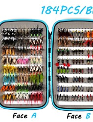 cheap -184 pcs Flies Fishing Lures Flies Worm Feathers Carbon Steel Mixed Material Floating Sinking Fast Sinking Fly Fishing Bait Casting Ice Fishing