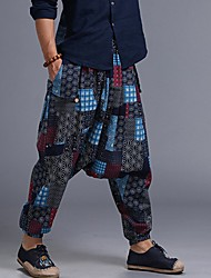 cheap -Men's Exaggerated Harem Pants - Geometric Pattern Blue Red One-Size