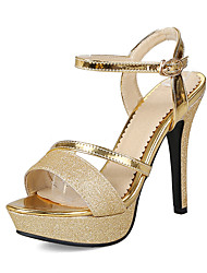 cheap -Women's PU(Polyurethane) Summer Classic / Minimalism Heels Stiletto Heel Open Toe Buckle Gold / Silver / Party & Evening