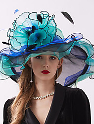 cheap -Organza Headwear with Flower / Ruffle 1 Piece Wedding / Sports & Outdoor Headpiece