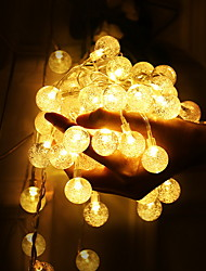 cheap -1.5m Crystal Ball String Lights 10 LEDs Warm White Patio Decoration Wedding Decoration AA Batteries Powered 1set