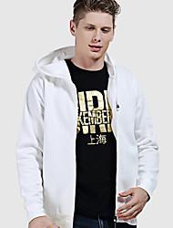 cheap -Men's Hiking Sweatshirt Hiking Skin Jacket Outdoor Windproof Sunscreen Soft Comfortable Hoodie Top Cotton Fleece Single Slider Camping / Hiking / Caving Winter Sports Black / White / Red / Grey
